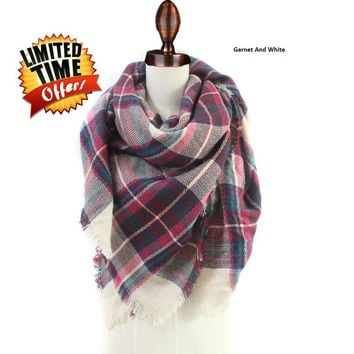 Blanket Scarf, Plaid scarf, oversized scarf, zara style scarf, Multicolor scarf tartan Scarf, fall scarf, blanket scarves, 5 color available