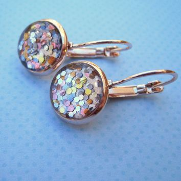 Rose Gold-Tone Pearly Silver and 5 Metal Glitter Glass Drop Earrings