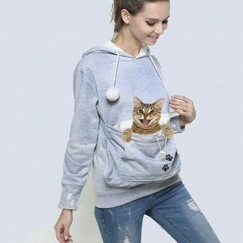 Carrier Coat Pet Pouch Sweater Hoodie Dog Cat Holder Ears