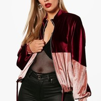 Plus Lelia Velvet Colour Block Bomber Jacket | Boohoo