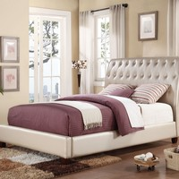 Pitney collection Pearl faux leather padded and tufted headboard footboard and rails queen size sleigh bed set
