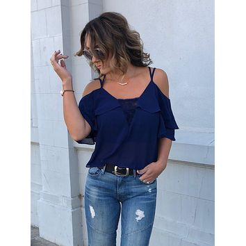 Nightowl Navy Cut-Out Lace Panel Top