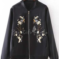 2016 New Style Fashion Floral Embroidered Bomber Jacket