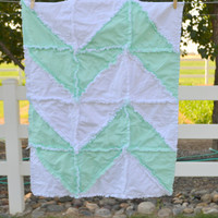 Rag Quilt, Chevron, Reversible, Small Baby Blanket, Made to Order