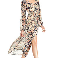 DailyLook: Sheer Floral Button Up Maxi Dress in Multi-colored XS - L