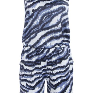 Streetstyle  Casual Strapless Pocket Animal Printed Romper