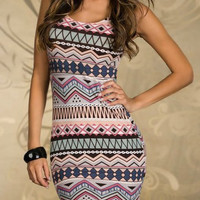 Gray Tribal Printed Bodycon Dress