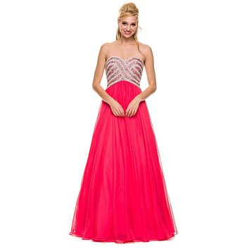 Poofy Prom Ball Gown Watermelon Floor Length Strapless Sequins
