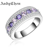 AndyChen Female Silver Color Purple&Pink Crystal Jewelry Engagement Rings For Women Femme Bague Bague ASR135