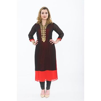 Enigmatic Red and Black Long Kurti with Churidar