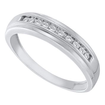 10kt White Gold Mens Round Channel-set Diamond Single Row Wedding Band 1/8 Cttw - FREE Shipping (US/CAN)