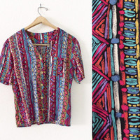 Vintage 90s Multicolor African Print Button Up Blouse - Bright Colorful Tribal Print Short Sleeve Women's Top - Size XS / S