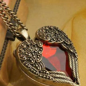 Winged Red Heart Pendant Necklace by SugarrNdSpice on Etsy