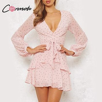 Conmoto Vintage Polka Dot Pink Ruffle Dress 2018 Autumn Fashion Mesh Long Sleeve Short Sexy Dress V Neck Layered Mini Dress Robe