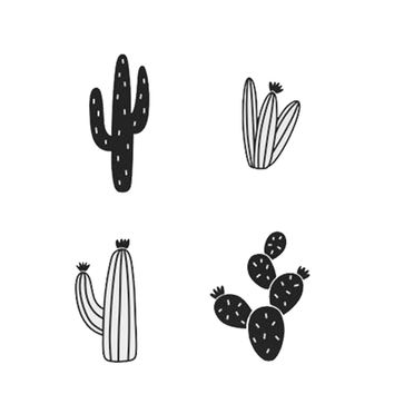 Very cool and very inexpensive 14Pcs 7 style carton cactus wall Sticker