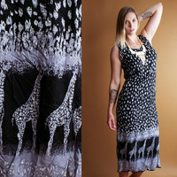 90s Bohemian Giraffe Black Maxi Dress animal print Rayon Grunge Vintage festival slinky tent sundress spotted tribal sleeveless boho hippie