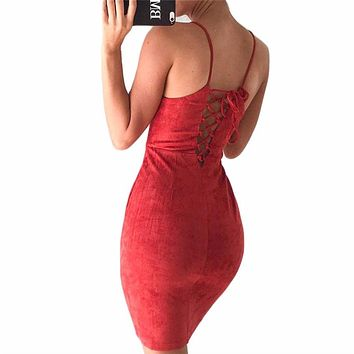 OOTN sexy club square neck lace up bodycon sleeveless pencil evening suede dress matte velvet slip solid color sheath