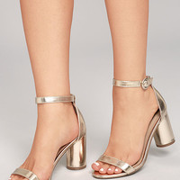 Elettra Champagne Ankle Strap Heels