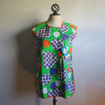 Vintage 1960s Tunic Apron Green Spade Tree Pattern NOS 60s TEX-MADE Cotton Apron Medium