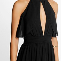 Debbie Chiffon Frill Detail Open Back Maxi Dress
