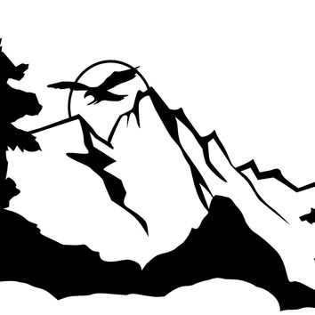BLACK Eagle Mountains Tree RV Camper Vinyl Decal Sticker Scene