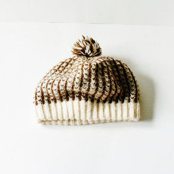 pompom beanie hat - vintage chunky beret - slouchy beanie - pom pom hat -  - ribbed knit - cream brown - women hat