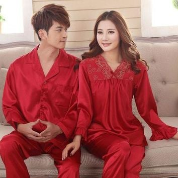 DCCKU62 Faux silk sleep lounge Rayon pajama sets  for men women  sleepwear  red marriage wedding pijamas lady's pyjamas female homewear