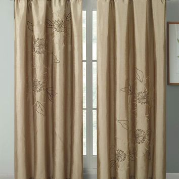 Carrie Embroidered Goldish Taupe Faux Silk Window Curtain Panel 55x84""