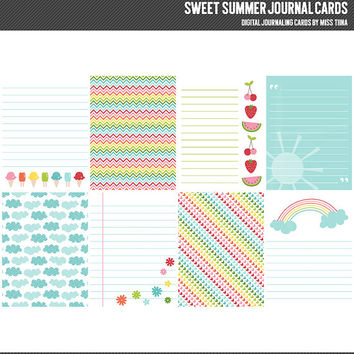 Sweet Summer Digital Journal Cards - 3x4 project life inspired printable scrapbooking journaling note cards  - instant download - CU OK