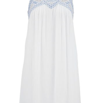 shift dress with openwork and embroidery