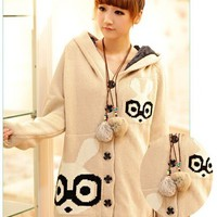 Sweet Womens Bunny Long Hooded Sweaters Loose Cardigans Warm Coats Sweater Coat