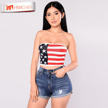 American Flag Tube Tops Summer Women Sexy Lingerie Fashion Women Strapless Sexy Bra Crop Tops Tops Tube Bra July 4th Patriotic
