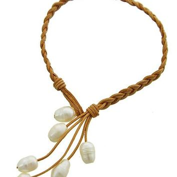 Fresh Water Pearl and Braided Leather Bracelet