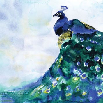 Peacock Watercolor Giclee Print 8x10