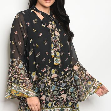Ladies fashion plus size long sleeve floral print skater dress that features a necktie  and bell sleeves