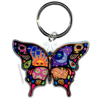 Day Night Butterfly Keychain