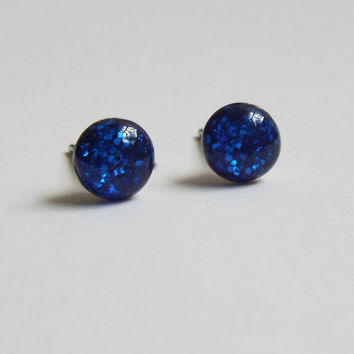Sapphire Blue Glitter Earring Studs Small Post Earrings