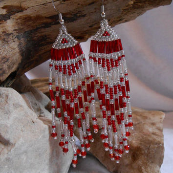 Hand Beaded Brickstitch Seed Bead Earrings, Beautiful Red and Silver with Swarovski Crystals, Handmade with Love