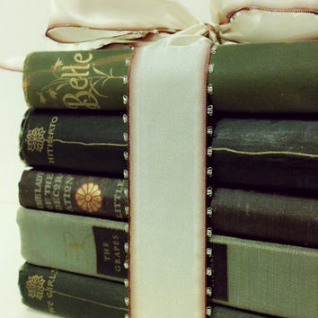 Centerpiece,Shabby Chic,1800s,Vintage,Gift,French Country Home,Wedding,Antique Books,Book Collection, Old Books,Green Books
