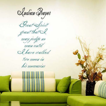 Indian Prayer Quote Wall Vinyl Decal Native American Design Inspired