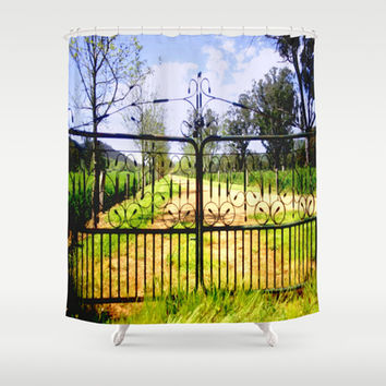 Wrought Iron Vintage Farm Gate Shower Curtain by Chris' Landscape Images of Australia | Society6