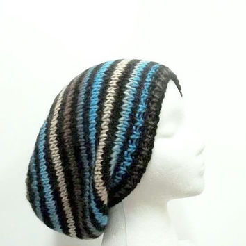 Knit slouch hat black and teal multicolor stripes large size 5209