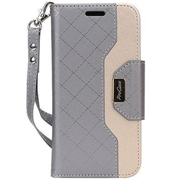 ProCase iPhone X Wallet Case, Flip Kickstand Case with Card Slots Mirror Wristlet, Folding Stand Protective Cover for Apple iPhone X / iPhone 10 (2017 Release) -Grey
