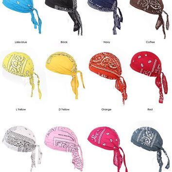 d1cb79402c9 12 pcs summer style 100% Cotton Hair Paisley Bandana durag do ra