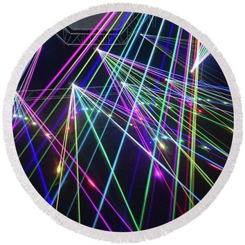 Laser Light Abstract - Round Beach Towel