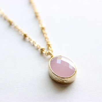 "Mother's Day Gift - Gold Necklace - Stone Necklace - Long Necklace - 24"" - Light Pink Glass Stone Pendant on Matte Gold Oval and Ring Chain"