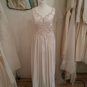 Nancy - Vintage Wedding Dress in White with Lace and Pearl Bodice with Straps.