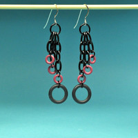 Merlot and Black O-Ring Earrings
