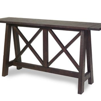 Vineyard Casual / Rustic Console Table Distressed Root Beer