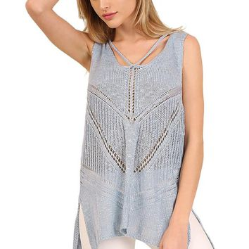 Crossed Back Sleeveless Lace Top